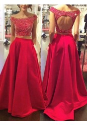 Two Piece Off-the-Shoulder Sweep Train Open Back Red Satin Prom Dress with Beading
