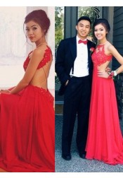 A-Line Jewel Floor-Length Open Back Red Chiffon Prom Dress with Lace Top