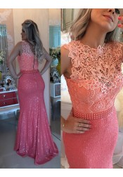 Stunning Mermaid Sweep Train Sequined Coral Prom Dress with Lace Top Beading