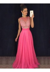 A-Line Bateau Sleeveless Illusion Back Rose Pink Prom Dress with Beading