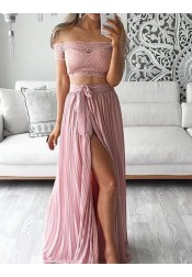 Simple Two Piece Off-the-shoulder Short Sleeveless Split Front Lace Top Long Prom Dress