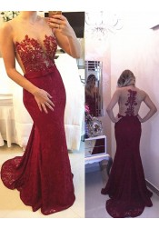 Mermaid Illusion Scoop Burgundy Lace Prom Dress with Beading Appliques
