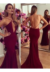 Mermaid Spaghetti Straps Backless Burgundy Stretch Satin Prom Dress