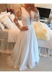 A-Line Scoop Long Sleeves Sweep Train White Chiffon Prom Dress