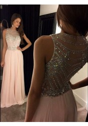 A-line Round Neck Sweep Train Pink Chiffon Prom Dress with Beading