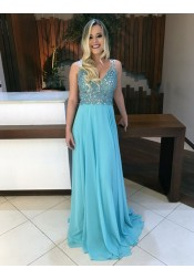 A-Line V-Neck Sweep Train  Backless Blue Chiffon Prom Dress with Beading