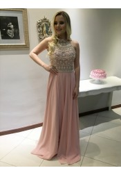 A-Line Halter Sleeveless Sweep Train Backless Pink Prom Dress with Beading