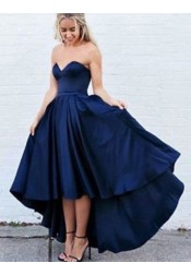 A-Line Sweetheart Sleeveless High Low Royal Blue Pleated Prom Dress