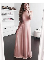 A-Line Square Sleeveless Floor-Length Blush Chiffon Prom Dress with Pleats