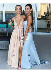 Sheath V-Neck Sweep Trian Backless Light Blue Stretch Satin Prom Dress