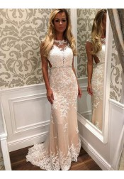 Mermaid Bateau Cap Sleeves Open Back Light Champagne Prom Dress