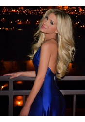 A-Line V-Neck Sweep Train Backless Royal Blue Prom Dress with Split