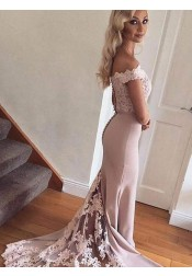 Mermaid Off-the-Shoulder Long Burgundy Satin Prom Dress with Lace Top