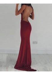 Mermaid Deep V-Neck Sweep Train Backless Burgundy Stretch Satin Prom Dress