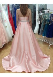 A-Line Sweetheart Sweep Train Pink Pleated Prom Dress with Beading