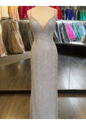 Sheath Spaghetti Straps Sweep Train Backless Sky Blue Sequined Prom Dress
