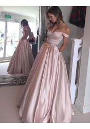 A-Line Off-the-Shoulder Floor-Length Pearl Pink Prom Dress with Beading Pockets