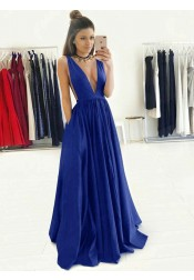 A-Line Deep V-Neck Floor-Length Royal Blue Taffeta Prom Dress with Pockets