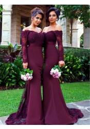 Mermaid Off-the-Shoulder Long Sleeves Sweep Train Wine Red Bridesmaid Dress