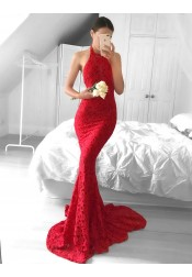Mermaid Halter Sleeveless Sweep Tarin Backless Red Lace Prom Dress