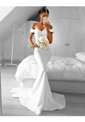 Mermaid Off-the-Shoulder Court Train White Prom Dress with Lace