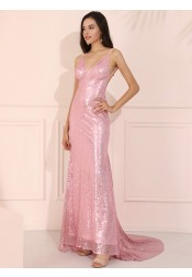 Glitter Pink V-Neck Long Prom Dress Sequined Backless Evening Dress