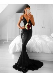 Mermaid V-Neck Sleeveless Sweep Train Black Sequined Prom Dress