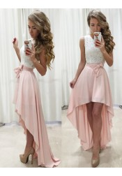 A-Line Jewel Sleeveless High Low Pearl Pink Prom Dress with Sash Lace