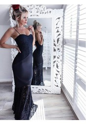 Mermaid Spaghetti Straps Navy Blue Elastic Satin Prom Dress with Lace