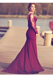 Mermaid Square Sweep Train Long Sleeves Burgundy Prom Dress with Appliques
