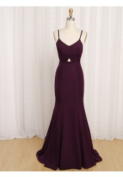 Mermaid Spaghetti Straps Sweep Train Burgundy Satin Criss-Cross Straps Prom Dress