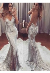 Mermaid Spaghetti Straps Sweep Train Backless Silver Sequined Prom Dress