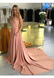 A-Line High Neck Court Train Blush Prom Dress Cut Out Back with Pockets