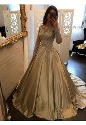 Ball Gown Off-the-Shoulder Champagne Satin Prom Dress with Lace Sleeves