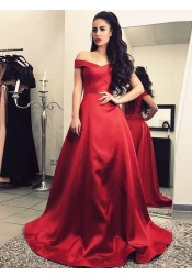 A-Line Off-the-Shoulder Sweep Train Ruched Burgundy Satin Prom Dress