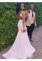 Sheath Round Neck Pearl Pink Open Back Prom Dress with Split