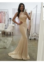 Mermaid V-Neck Sweep Train Beige Elastic Satin Prom Dress with Lace