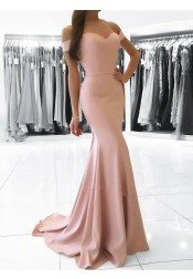 Mermaid Off-the-Shoulder Sweep Train Pearl Pink Prom Dress with Sash