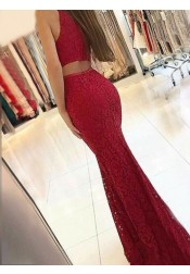 Mermaid Round Neck Sweep Train Dark Red Lace Prom Dress Cut Out