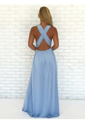 A-Line V-Neck Criss-Cross Straps Sky Blue Chiffon Prom Dress with Split