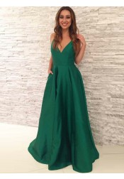 A-line V-Neck Floor-Length Pleated Hunter Satin Prom Dress with Pockets