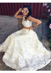 Two Piece Round Neck Floor-Length Keyhole White Lace Prom Dress