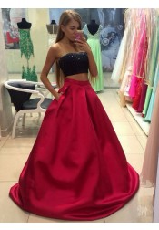 Two Piece Strapless Dark Red Satin Prom Dress with Beading Pockets