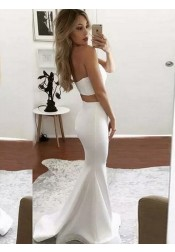 Two Piece Mermaid Sweetheart Sweep Train Ivory Prom Dress with Split