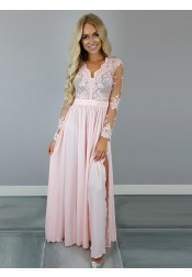A-Line V-Neck Long Sleeves Pink Chiffon Prom Dress with Appliques