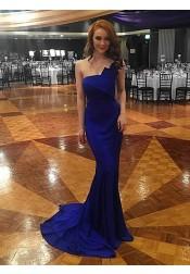 Mermaid One Shoulder Sweep Train Royal Blue Prom Dress with Ruffles