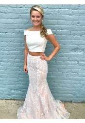Two Piece Mermaid Off-the-Shoulder Ivory Tulle Prom Dress with Appliques