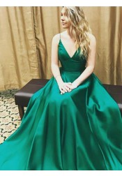 A-Line V-Neck Floor-Length Hunter Green Satin Prom Dress with Pleats
