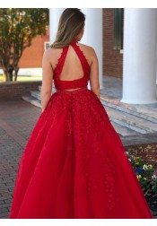 Two Piece High Neck Dark Red Tulle Beaded Appliques Prom Dress Open Back