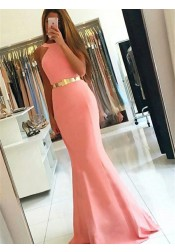 Mermaid Style Jewel Sweep Train Pink Elastic Satin Prom Dress